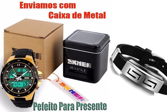 Relógio Masculino Dourado Digital Promoção + Brinde