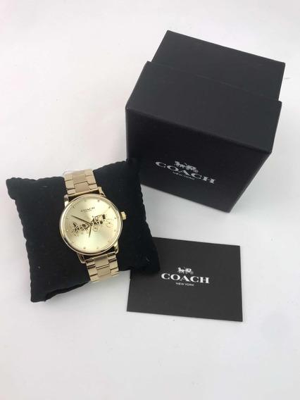 Reloj Coach 14503075 Dorado Con Logo Coach Dama Extensible
