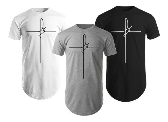 Kit 3 Camisas Blusas Camisetas Masculinas Longline Fé