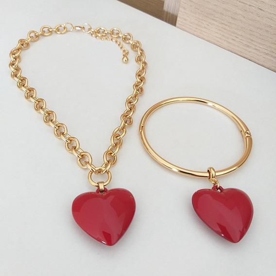 Colar E Bracelete Com Pingente De Coração Vermelho Sigvara