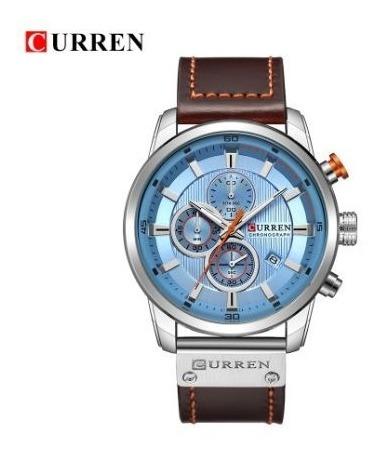 Relógio Curren 8291 Azul Funciona Tudo Couro - Frete Grátis