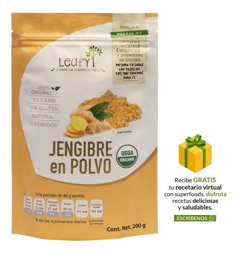 Imagen 1 de 6 de Jengibre Orgánico En Polvo Superfood Leafy 200 Gr