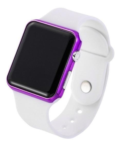 Relógio De Pulso Digital Led Feminino Branco Com Rosa