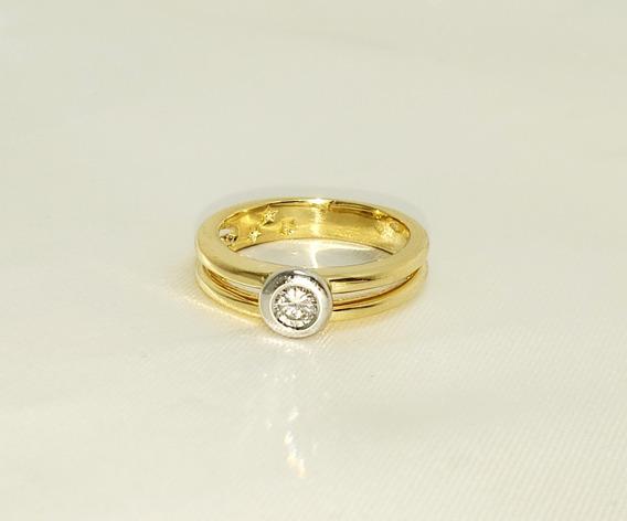 Hstern Anel Solitário De Ouro Amarelo 18k Diamante 20 Pts