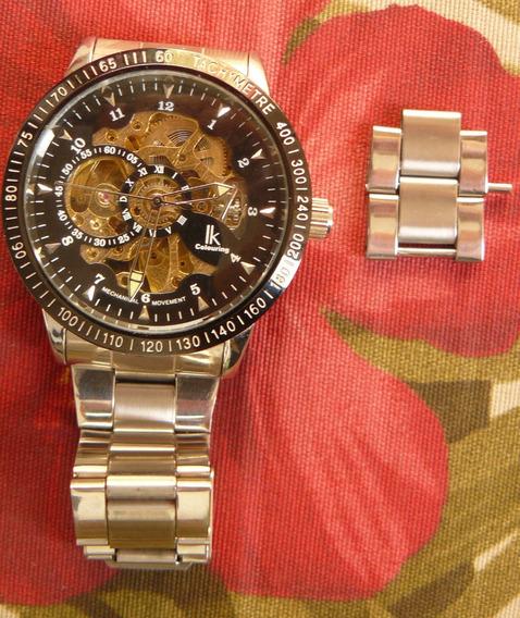 Relógio Automático Ik Collouring Original Caixa Aço