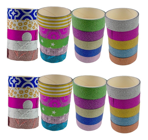 Imagem 1 de 10 de 40 Rolos Washi Tape Fita Adesiva Decorativa Planner Caderno