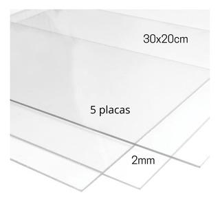 Chapa Placa Acrílica Cristal Kit 5 30x20cm Espessura 2mm