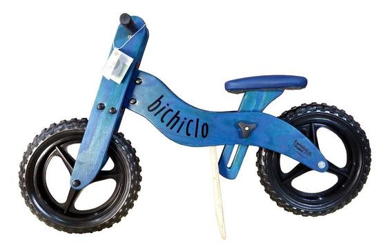 Bicicleta Infantil De Madeira Aro 12 - Bichiclo Azul
