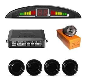 Sensor Estacionamento Ré Preto 4 Sensores Display Com 10 Und