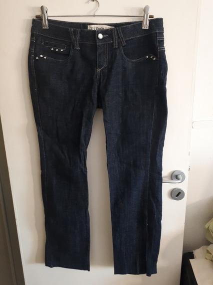 Jean Azul Oscuro C/ Strass, Talle 40. Trf Denim . Recto