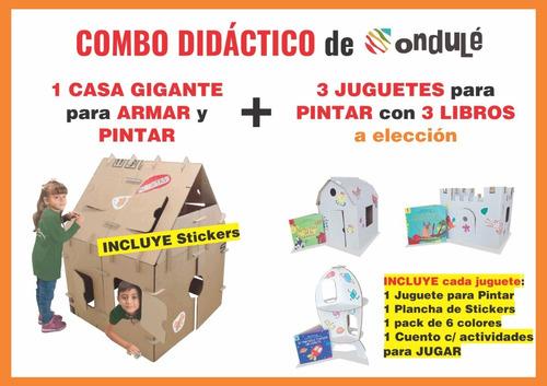 Imagen 1 de 8 de Combo Didáctico Ondulé 1 Casa Gigante +  3 Juguetes C/libros