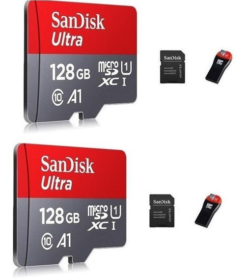 Kit Com 2 Cartões Micro Sdxc 128gb Ultra Sd Sandisk 100 Mbps