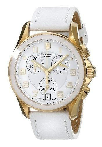 Relógio Victorinox Swiss Army Couro Branco/dourad Cronografo