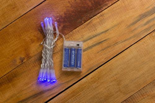 Imagen 1 de 1 de Serie De Luces Azules Cortas 30 Leds 3mt De Pilas Baterias