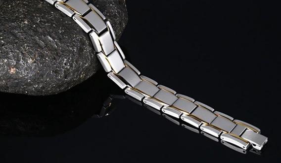 Pulseira Magnética Aço Banho Ouro 18k Terapeutica + Brinde