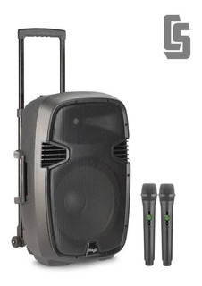 Bafle Activo Portatil A Batería 12 160w 2 Mics Y Bluetooth