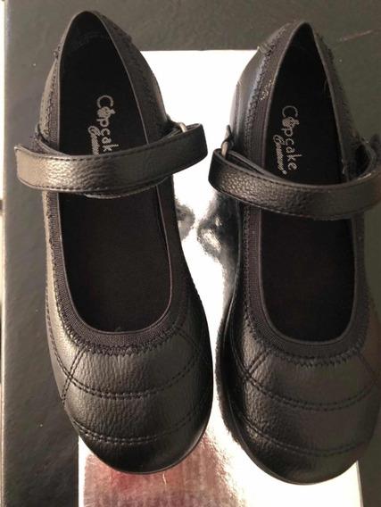 Zapatos Negros Nena Pulsera Velcro Talle 13 1/2