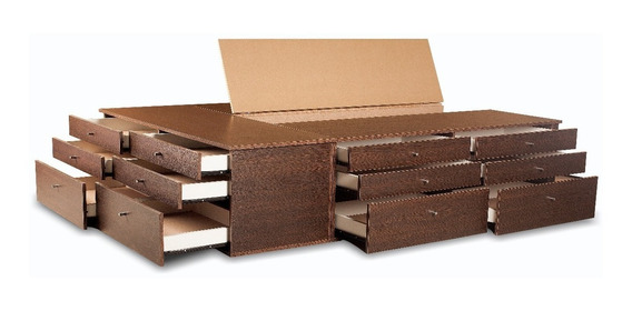 Base Box Sommier 18 Cajones King Size 2x180 Somier Cajonera
