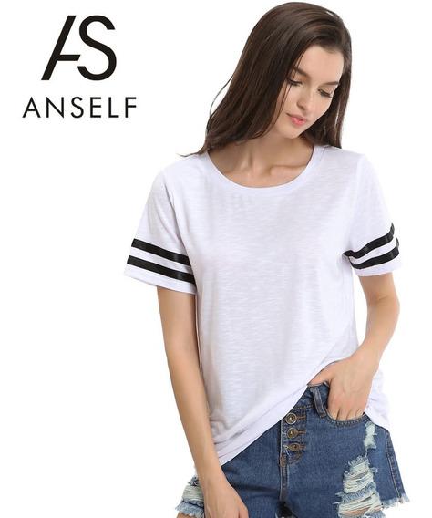T-shirt O-pescoço Mangas Curtas Listras Pretas
