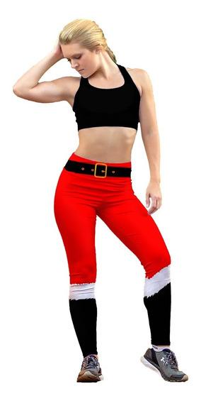Leggin Dama Sublimado En Licra Santa Navidad Gym Bi-estrech