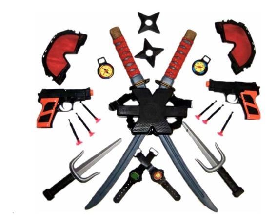 01kit Arma Deadpool Porta Espada Costas Sai Estrela Pistola