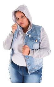 Jaqueta Jeans Plus Size Capuz Feminina Tamanho Grande
