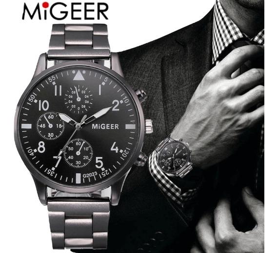 Relógio Masculino Luxo Migeer G2023 Pulseira Aço Inox Pret