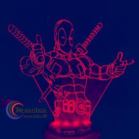 Luminária Em Acrílico 3d - Dead Pool