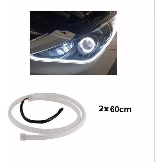 Par Barra Led Neon 60cm Flexível Farol Drl Diurna 12v Oferta