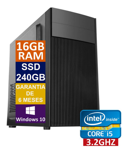 Pc Computador Cpu Intel Core I5 Ssd 240gb + 16gb Memória Ram