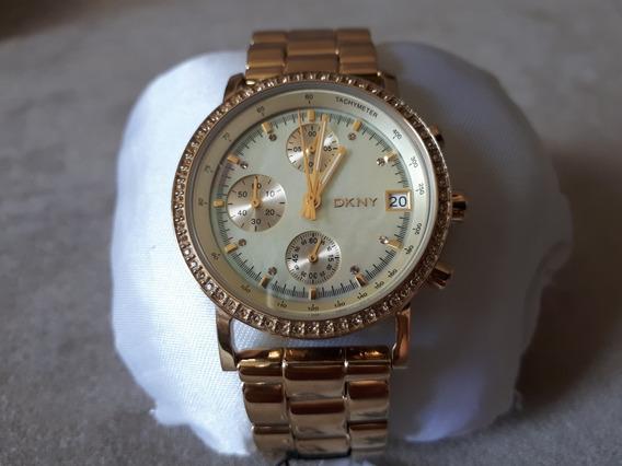 Relógio Original Donna Karan Dkny Dourado Fundo Madrepérola