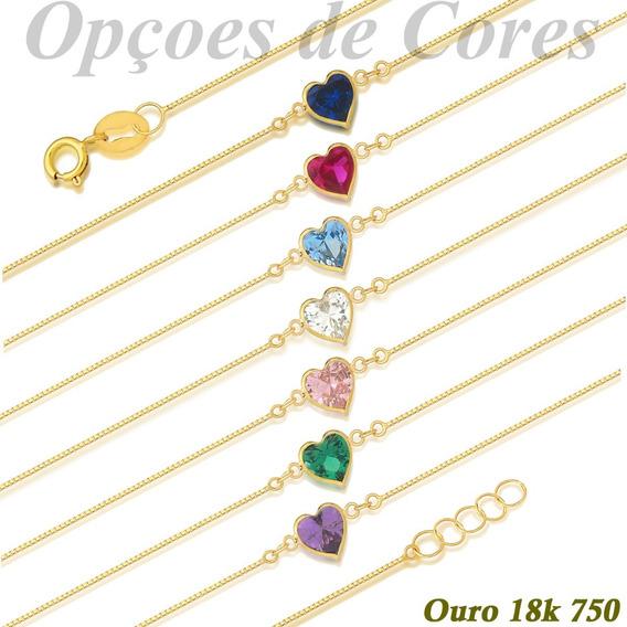 Tornozeleira Ouro 18k 750 Pedra Coração De Zircônia 5mm 25cm