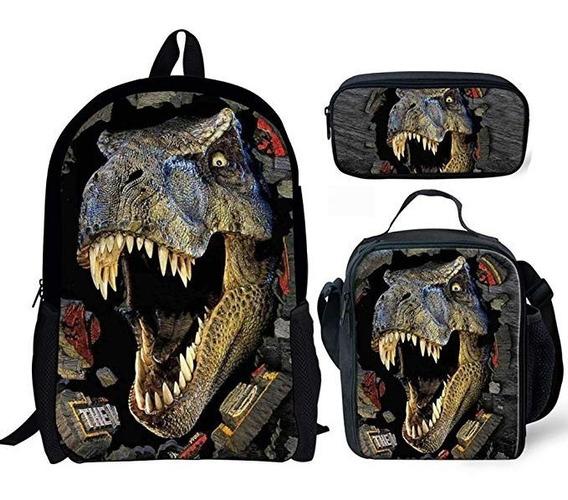Mochila Portatil Jurassic World Dinosaurio Combo 3 Piezas
