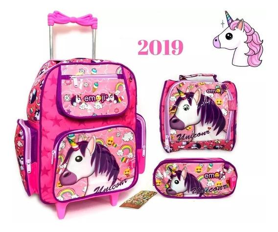 Kit Mochila Exclusivo Unicornio 2019 Rodinhas Rosa Linda