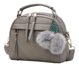 Bolsa Feminina Fashion Couro Chaveiro Pompom Importada