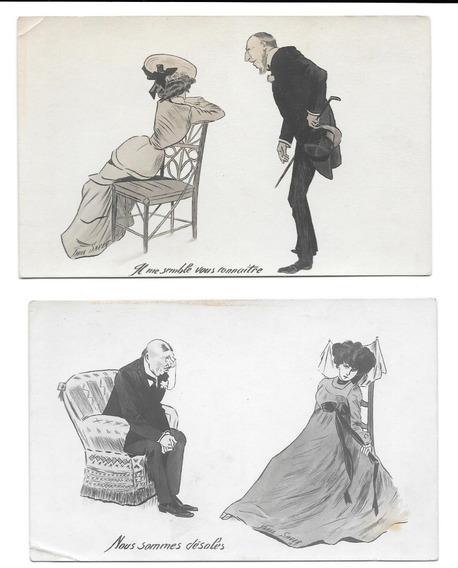 Lote 2 Tarjetas Postales Antiguas Francia Xavier Sager 1904