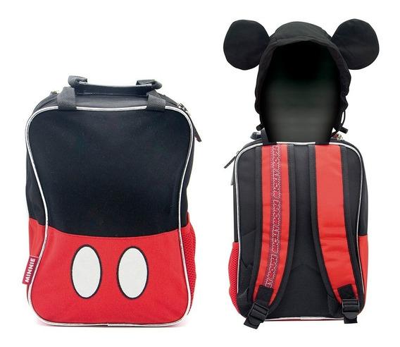 Mochila De Espalda Mickey Con Capucha Km079 Original 12