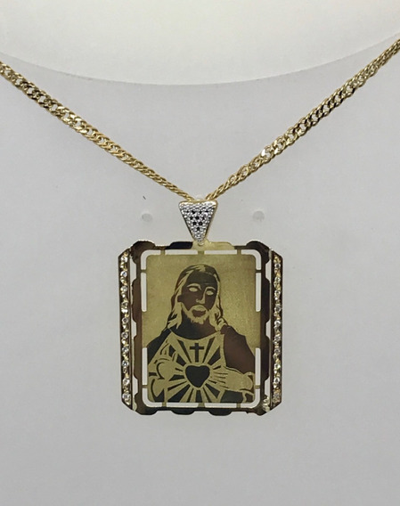 Glitter - Colar Corrente Groumett E Pingente Cristo Ouro 18k