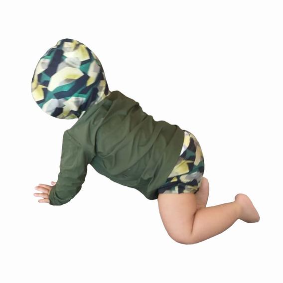 Conjunto C Capuz Bebê Com Proteção Solar Uv 50+ Jamper