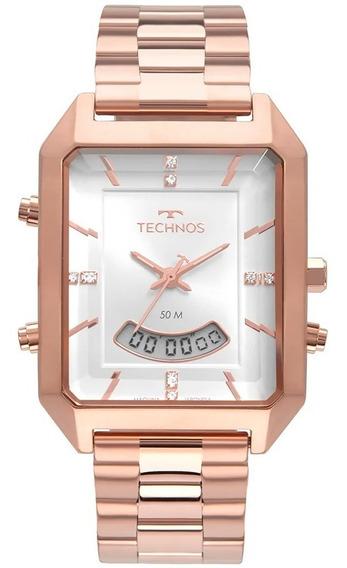 Relógio Technos Feminino Anadigi Quadrado Rosé Original