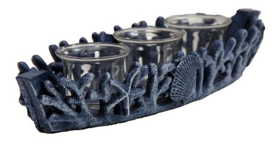 Coral Porta Vela Decoración Tea Light Concha Náutico Lancha