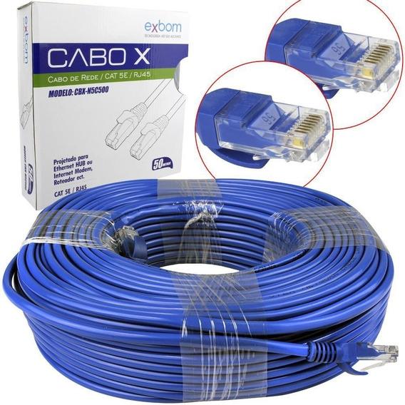 Cabo De Rede Cat5e 50mt C/plug Rj45 Azul Montado Patch