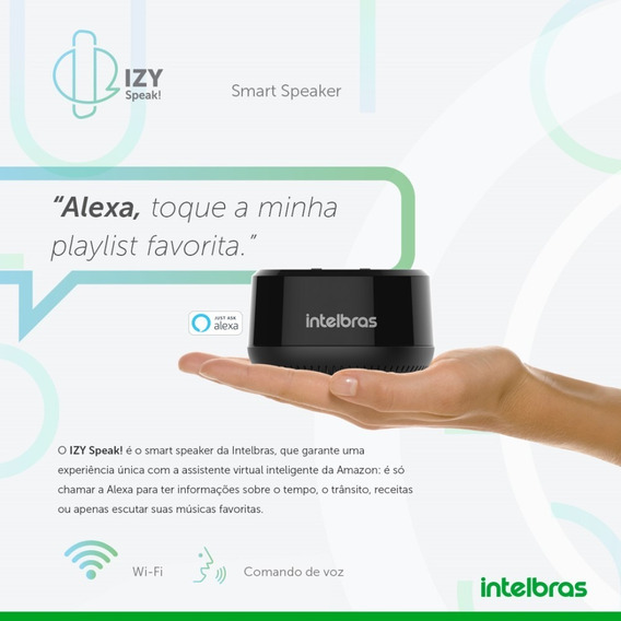 Izy Speak Mini Intelbras Com Alexa Alto Falante Inteligente