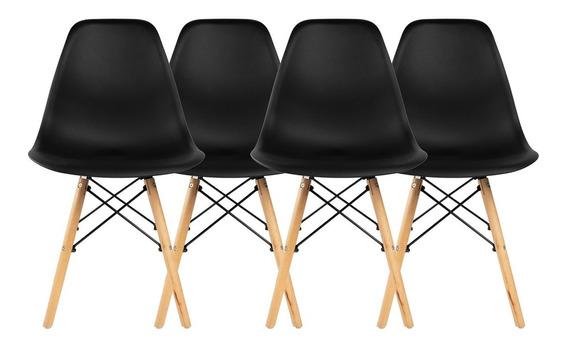 Kit 4 Cadeiras Charles Eames Eiffel Base Madeira Begônia
