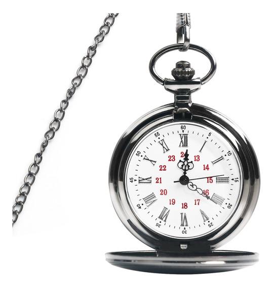 Reloj De Bolsillo Vintage Clásico Cuarzo Con Cadena Unisex