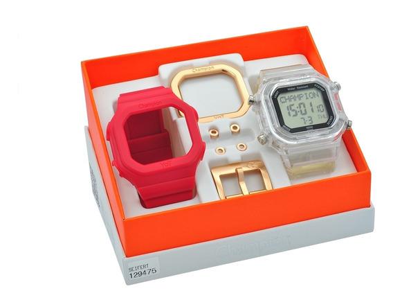 Relógio De Pulso Champion Yot Unissex Kit Troca Pulseiras De