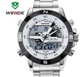 Relógio Pulso Sport Weide Militar Prata Com Branco Digital
