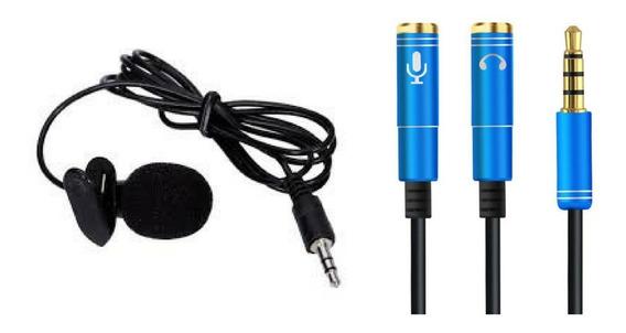 Kit Microfone De Lapela Stereo+adaptador Para Youtubers
