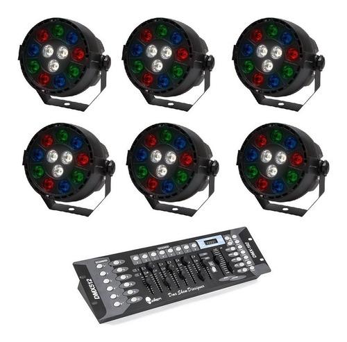 Imagen 1 de 8 de Kit 6 Luz De Leds Cañon Par64 Rgbw + Controlador Dmx 9070