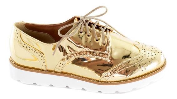 Sapato Oxford Feminino Em Material Sintético Na Cor Dourado